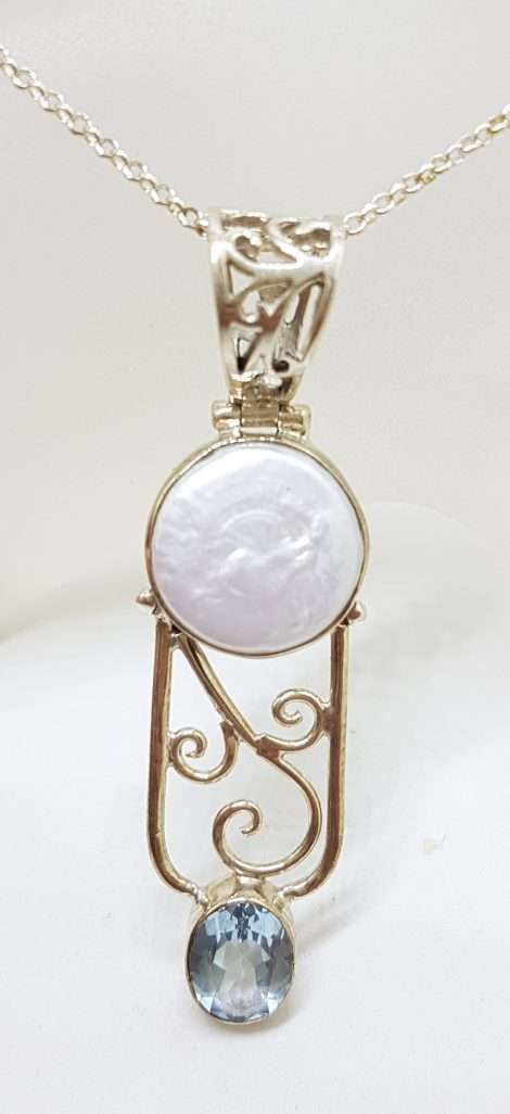 Sterling Silver Long Ornate Filigree Pearl and Topaz Pendant on Silver Chain