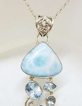 Sterling Silver Larimar & Blue Topaz Pendant on Sterling Silver Chain