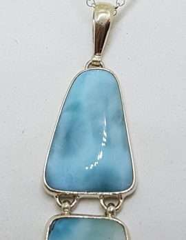 Sterling Silver Long Double Larimar Drop Pendant on Silver Chain