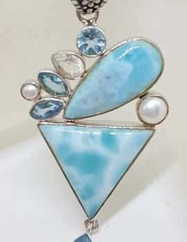 Sterling Silver Larimar, Topaz, Clear Quartz and Pearl Pendant on Sterling Silver Chain
