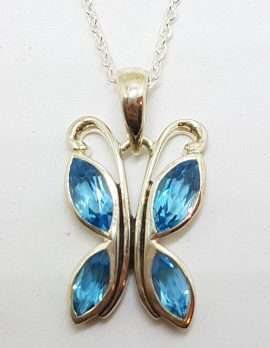 Sterling Silver Topaz Butterfly Pendant on Silver Chain