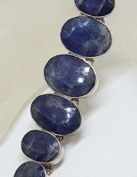 789Sterling Silver Large Oval Graduated Sizes Sapphire Bracelet