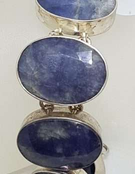 Sterling Silver Large Oval Graduated Sizes Sapphire Bracelet