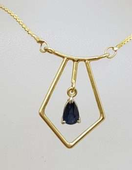 7899ct Yellow Gold Sapphire Drop Necklace