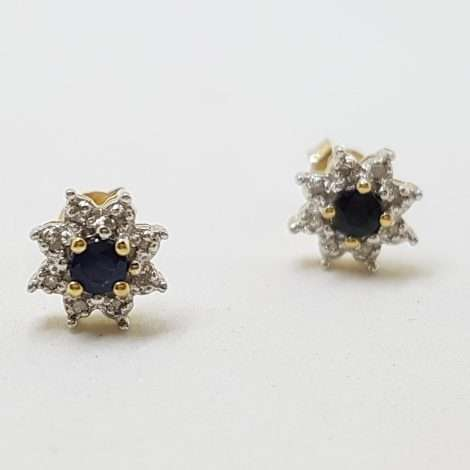 7899ct Yellow Gold Natural Sapphire and Diamond Daisy Flower Stud Earrings