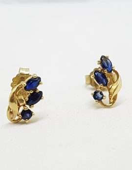 9ct Yellow Gold Natural Sapphire Stud Earrings