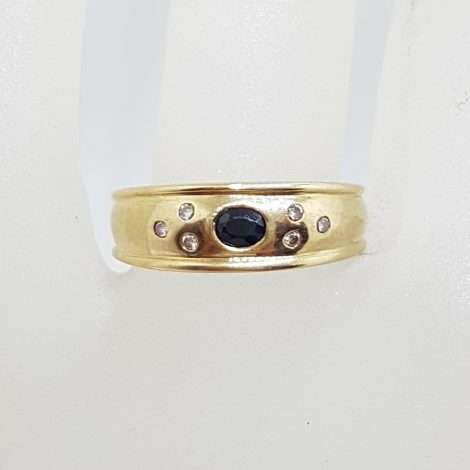 9ct Yellow Gold Oval Natural Blue Sapphire and Diamond Band Ring