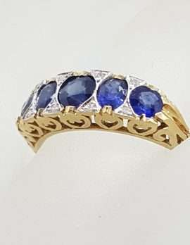 9ct Gold Bridge Set Ring with 5 Blue Sapphires and 8 Diamonds - Filigree Sides