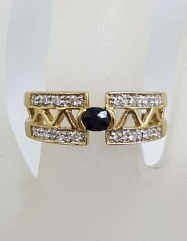 9ct Yellow Gold Oval Sapphire with Diamonds Ring - Open Design Band