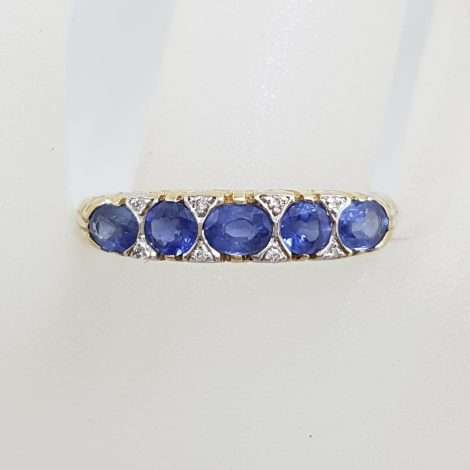 9ct Yellow Gold Bridge Set Ring with 5 Blue Sapphires and 8 Diamonds – Ornate Sides