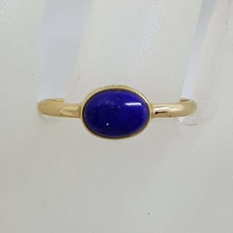 9ct Yellow Gold Oval Shape Lapis Lazuli Ring - Stackable