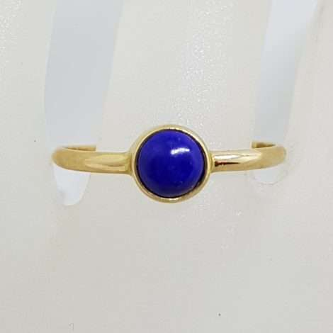 9ct Yellow Gold Round Shape Lapis Lazuli Ring - Stackable
