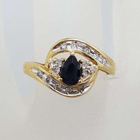 9ct Yellow Gold Teardrop / Pear Shape Natural Blue Sapphire Surrounded by Diamond Ring