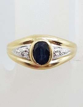 9ct Yellow Gold Oval Natural Blue Sapphire and Diamond Bezel Set Wide Ring