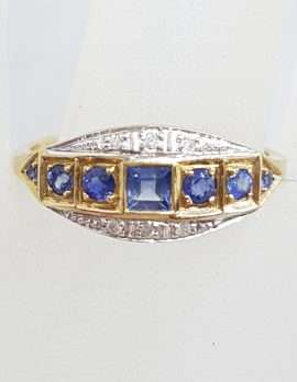 9ct Yellow Gold Ring Square and Round Blue Sapphires & Diamonds - Art Deco Style Bridge Setting