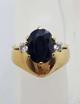 9ct Yellow Gold Oval Natural Blue Sapphire Claw Set with 2 Diamonds Engagement and Wedding Ring Set