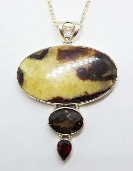 Sterling Silver Large Oval with Smokey Quartz Pendant on Silver Chain