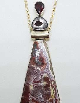 Sterling Silver Very Long Red Crazy Lace Agate, Garnet and Druzy Pendant on Silver Chain
