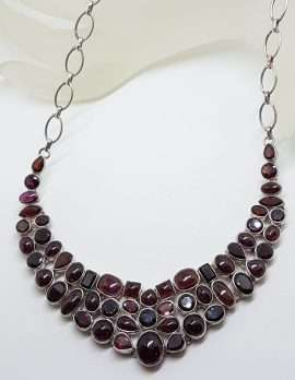 Sterling Silver Large Cabochon and Faceted Garnet Cluster Collier Necklace / Chain