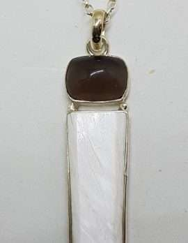 Sterling Silver Long White with Cabochon Cut Smokey Quartz Pendant on Silver Chain