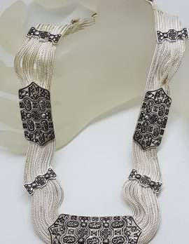 Sterling Silver Wide Multiple Chain with Ornate Design Collier Chain / Necklace - Turkish