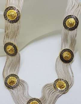 Sterling Silver Wide Multiple Chain with Coin Shape Medallions Necklace - Gold Plated Black Enamel Lion Head Design