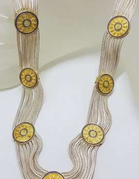 Sterling Silver Wide Multiple Chain with Round Coin Shape Medallions Bracelet - Gold Plated Ornate Design - Turkish