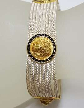 Sterling Silver Wide Multiple Chain with Round Coin Shape Medallions Bracelet - Gold Plated, Black Enamel & Lion Head Design - Turkish