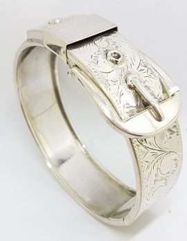 Sterling Silver Wide Ornate Belt Buckle Bangle
