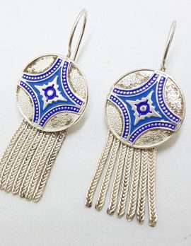 Sterling Silver Wide Multiple Chain with Round Coin Shape Medallions Tassel Earrings - Blue Enamel Ornate Design - Turkish