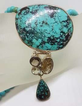 Sterling Silver Large Natural Turquoise with Smokey Quartz, Green Amethyst / Prasiolite and Rutilated Quartz Pendant on Turquoise Bead Chain / Necklace