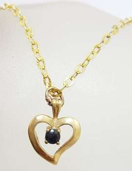9ct Yellow Gold Sapphire Heart Pendant on Gold Chain