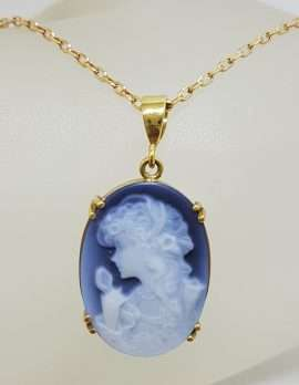 14ct Yellow Gold Blue Agate Oval Cameo Lady Pendant on 9ct Chain