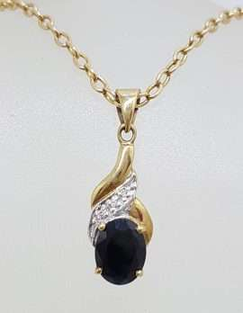 9ct Yellow Gold Oval Sapphire and Diamond Twist Pendant on Gold Chain