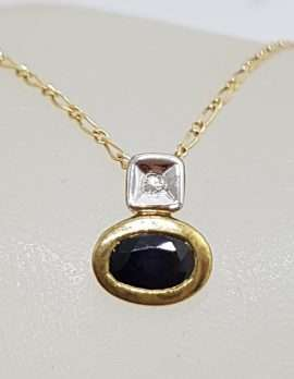 9ct Yellow Gold Oval Sapphire and Diamond Pendant on Gold Chain