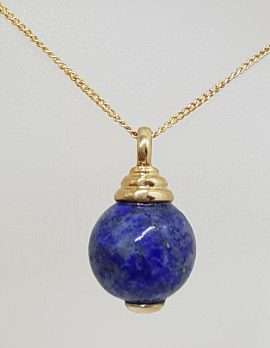9ct Yellow Gold Lapis Lazuli Ball Pendant on Gold Chain
