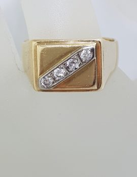 18ct Yellow Gold Large Rectangular Gents Ring with 4 Diamonds - Solid - Antique / Vintage
