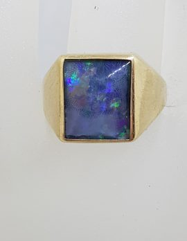 9ct Yellow Gold Rectangular Opal Triplet Gents Ring - Antique / Vintage