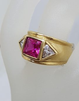 9ct Yellow Gold Pink and Clear Cubic Zirconia Handmade Solid and Wide Band Ring