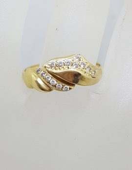 18ct Yellow Gold Cubic Zirconia Wavy Design Ring - Vintage / Antique