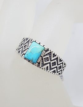 Sterling Silver Rectangular Ornate Design Turquoise Ring - Ladies / Gents