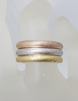 Sterling Silver Gold Plated Three Tone Heavy Wide Band Ring - Ladies / Gents