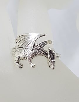 Sterling Silver Large Dragon Ring