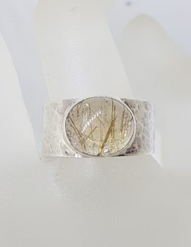 Sterling Silver Oval Rutilated Quartz Wide Beaten Pattern Band Ring - Gents / Ladies