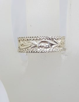 Sterling Silver Ornate Rectangular Wedding Band Ring - Gents / Ladies - Vintage