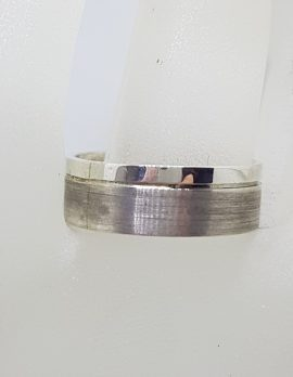 Sterling Silver Plain and Matt Pattern Wedding Band Ring - Gents / Ladies