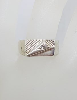 Sterling Silver Rectangular Patterned Cubic Zirconia Gents Ring - Vintage