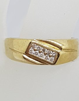 9ct Yellow Gold Diamond Cluster Gents Ring