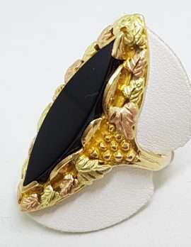 Yellow, Rose and Green Black Hill Gold Very Large Marquis Shape Onyx Ornate Grape and Leaf Design Ring - Stunning