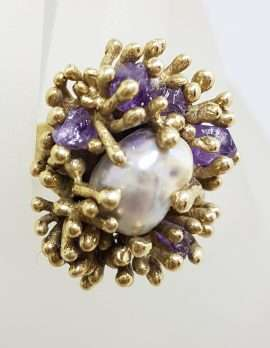 9ct Yellow Gold Very Large Natural Form Amethyst & Pearl Unusual Anemone Shape Cluster Ring